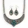 Ethnic Burn Silver Hammered, Turquoise Ceramic Stone Necklace With T-Bar Closure &amp; Teardrop Earrings Set - 42cm Length