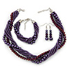 Deep Purple, Metallic Purple Glass Pearl Bead Multi Strand Neckace, Bracelet & Drop Earrings Set In Silver Tone - 34cm Length/ 4cm Extender