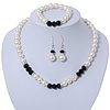 White Simulated Glass Pearl Bead Necklace, Flex Bracelet & Drop Earrings Set With Diamante Rings & Black Beads - 38cm Length/ 6cm Extension