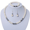 White Simulated Glass Pearl Bead Necklace, Flex Bracelet & Drop Earrings Set With Diamante Rings & Metallic Grey Beads - 38cm Length/ 6cm Extension