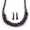 Deep Purple Faux Pearl/ Glass Crystal Cluster Necklace & Drop Earrings Set In Silver Plating - 38cm Length/ 6cm Extender