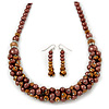 Chocolate Brown Faux Pearl/ Glass Crystal Cluster Necklace &amp; Drop Earrings Set In Silver Plating - 38cm Length/ 6cm Extender