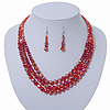 Brick Red Multistrand Faceted Glass Crystal Necklace & Drop Earrings Set In Silver Plating - 44cm Length/ 6cm Extender