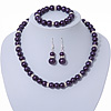 Deep Purple Glass Bead Necklace, Flex Bracelet & Drop Earrings Set With Diamante Rings - 38cm Length/ 6cm Extension