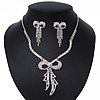 Clear Swarovski Crystal 'Bow' Necklace & Drop Earrings Set In Rhodium Plating - 36cm Length/ 7cm Extension