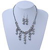 Victorian/ Gothic/ Burlesque Metallic Grey Glass Bead Necklace & Drop Earring Set In Rhodium Plating - 40cm Length/ 5cm Extension