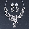 Clear Austrian Crystal 'Butterfly' Necklace & Drop Earring Set In Rhodium Plating - 40cm Length/ 6cm Extension
