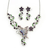 Purple/ Green Austrian Crystal 'Butterfly' Necklace & Drop Earring Set In Rhodium Plating - 40cm Length/ 6cm Extension