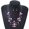 Baby Pink Shell &amp; Crystal Floating Bead Necklace &amp; Drop Earring Set - 52cm Length/ 5cm extension