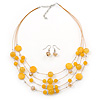 Sandy Yellow Shell & Crystal Floating Bead Necklace & Drop Earring Set - 52cm L/ 5cm Ext