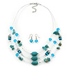 Turquoise & Crystal Floating Bead Necklace & Drop Earring Set - 52cm Length (5cm extension)