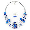 Navy Blue Shell & Crystal Floating Bead Necklace & Drop Earring Set - 52cm L/ 5cm Ext