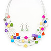 Multicoloured Square Shell & Crystal Floating Bead Necklace & Drop Earring Set - 52cm Length/ 6cm extension