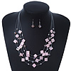 Baby Pink Square Shell & Crystal Floating Bead Necklace & Drop Earring Set - 52cm Length/ 6cm extension