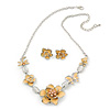 Yellow Cream Enamel Flower & Butterfly Necklace & Stud Earring Set In Rhodium Plating - 36cm Length/ 5cm Extension