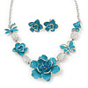 Light Blue Enamel Flower &amp; Butterfly Necklace &amp; Stud Earring Set In Rhodium Plating - 36cm Length/ 5cm Extension