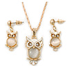 Milky White Moonstone 'Wise Owl' Pendant  With Gold Tone Chain & Drop Earrings Set - 44cm Length/ 5cm Extension