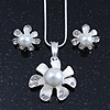 Enamel White Simulated Pearl, Crystal Flower Pendant With Silver Tone Snake Style Chain & Stud Earrings Set - 40cm Length/6cm Extender