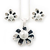 Enamel Dark Blue Simulated Pearl, Crystal Flower Pendant With Silver Tone Snake Style Chain & Stud Earrings Set - 40cm Length/6cm Extender