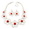 Light Silver Tone Coral Bead Floral Necklace & Drop Earrings Set - 38cm Length/ 7cm extender