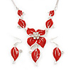Red Enamel Diamante Floral Necklace & Drop Leaf Earrings Set In Rhodium Plated Metal - 40cm Length/ 7cm extender