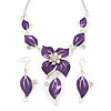 Purple Enamel Diamante Floral Necklace & Drop Leaf Earrings Set In Rhodium Plated Metal - 40cm Length/ 7cm extender