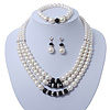 3-Strand Black Glass Bead, White Imitation Pearl Necklace, Flex Bracelet & Drop Earrings Set In Silver Plated Metal - 40cm L
