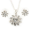 Clear Austrian Crystal Flower Pendant With Silver Tone Chain and Stud Earrings Set - 40cm L/ 5cm Ext - Gift Boxed