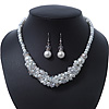 White Glass Pearls & Transparent Crystal Bead Cluster Necklace & Drop Earrings In Rhodium Plating - 38cm/ 7cm Extension