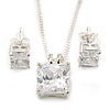 Princess Cut Clear CZ Pendant With Silver Tone Chain and Stud Earrings Set - 46cm L - Gift Boxed