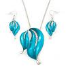 Azure Blue Enamel Diamante 'Leaf' Necklace & Drop Earrings Set In Rhodium Plated Metal - 40cm Length/ 6 extension