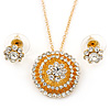 Clear Austrian Crystal Round Pendant With Gold Tone Chain and Floral Stud Earrings Set - 44cm L/ 5cm Ext - Gift Boxed