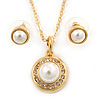 Classic Clear Austrian Crystal Simulated Button Pearl Pendant With Gold Tone Chain and Stud Earrings Set - 46cm L/ 5cm Ext - Gift Boxed