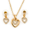 Clear Austrian Crystal Double Heart Pendant With Gold Tone Chain and Stud Earrings Set - 40cm L/ 5cm Ext - Gift Boxed
