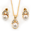 Clear Austrian Crystal Simulated Pearl Pendant With Gold Tone Chain and Stud Earrings Set - 44cm L/ 5cm Ext - Gift Boxed