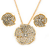 Clear Austrian Crystal Flower Pendant With Gold Tone Chain and Stud Earrings Set - 46cm L/ 5cm Ext - Gift Boxed