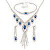Bridal/ Prom/ Wedding Blue/ Clear Crystal Leaf V-shape Necklace, Bracelet and Drop Earrings Set In Silver Tone - Necklace 34cm L/ 12cm Ext, Bracelet 1
