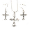 Clear Austrian Crystal Cross Pendant with Silver Tone Snake Chain and Drop Earrings Set - 42cm L/ 5cm Ext - Gift Boxed