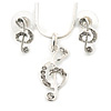 Clear Austrian Crystal Treble Clef Pendant With Silver Tone Chain and Stud Earrings Set - 46cm L/ 5cm Ext - Gift Boxed
