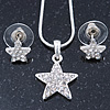 Clear Austrian Crystal Star Pendant With Silver Tone Chain and Stud Earrings Set - 40cm L/ 5cm Ext - Gift Boxed