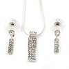 Clear Austrian Crystal Bar Pendant With Silver Tone Chain and Stud Earrings Set - 42cm L/ 5cm Ext - Gift Boxed