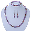 Pink/ Lilac Glass Bead With Crystal Rings Necklace, Flex Bracelet & Drop Earrings Set In Silver Tone - 44cm L/ 5cm Ext