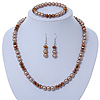 Light Brown/ Topaz Glass Bead With Crystal Rings Necklace, Flex Bracelet & Drop Earrings Set In Silver Tone - 44cm L/ 5cm Ext
