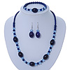 Royal Blue/ Light Blue Ceramic, Glass Bead Necklace, Flex Bracelet & Drop Earrings Set In Silver Tone - 42cm L/ 4cm Ext
