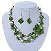 Green/ Olive/ Mint Shell, Glass Bead Floral Necklace & Drop Earrings In Gold Plating - 40cm L/ 7cm Ext