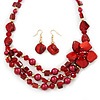 Burgundy Red Shell, Glass Bead Floral Necklace & Drop Earrings In Gold Plating - 40cm L/ 7cm Ext