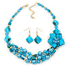 Teal Blue Coloured Shell, Glass Bead Floral Necklace & Drop Earrings In Gold Plating - 40cm L/ 7cm Ext
