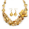 Golden/ Amber/ Yellow Honey Coloured Shell, Glass Bead Floral Necklace & Drop Earrings In Gold Plating - 40cm L/ 7cm Ext