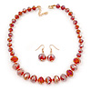 Red Faceted Graduated Beaded Necklace And Drop Earrings Set In Gold Tone - 43cm L/ 4cm Ext