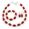 Dark Orange Glass 'Grapes' Beaded Necklace, Flex Bracelet And Drop Earrings Set In Silver Tone - 44cm L/ 5cm Ext